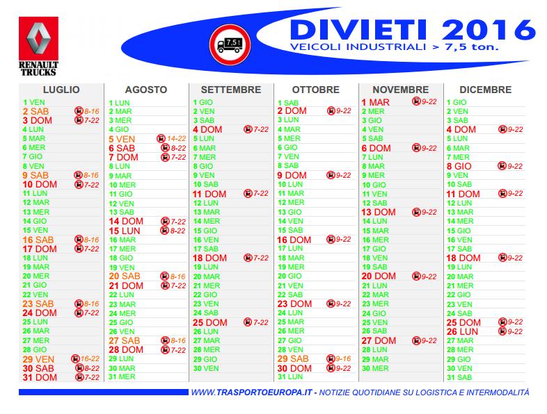 Calendario Divieto Circolazione Mezzi Pesanti.Divieti Per I Camion Ad Agosto 2016 Assopetroli Assoenergia
